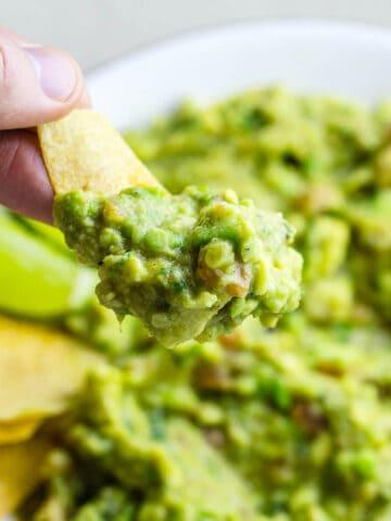 guacamole on tortilla chip