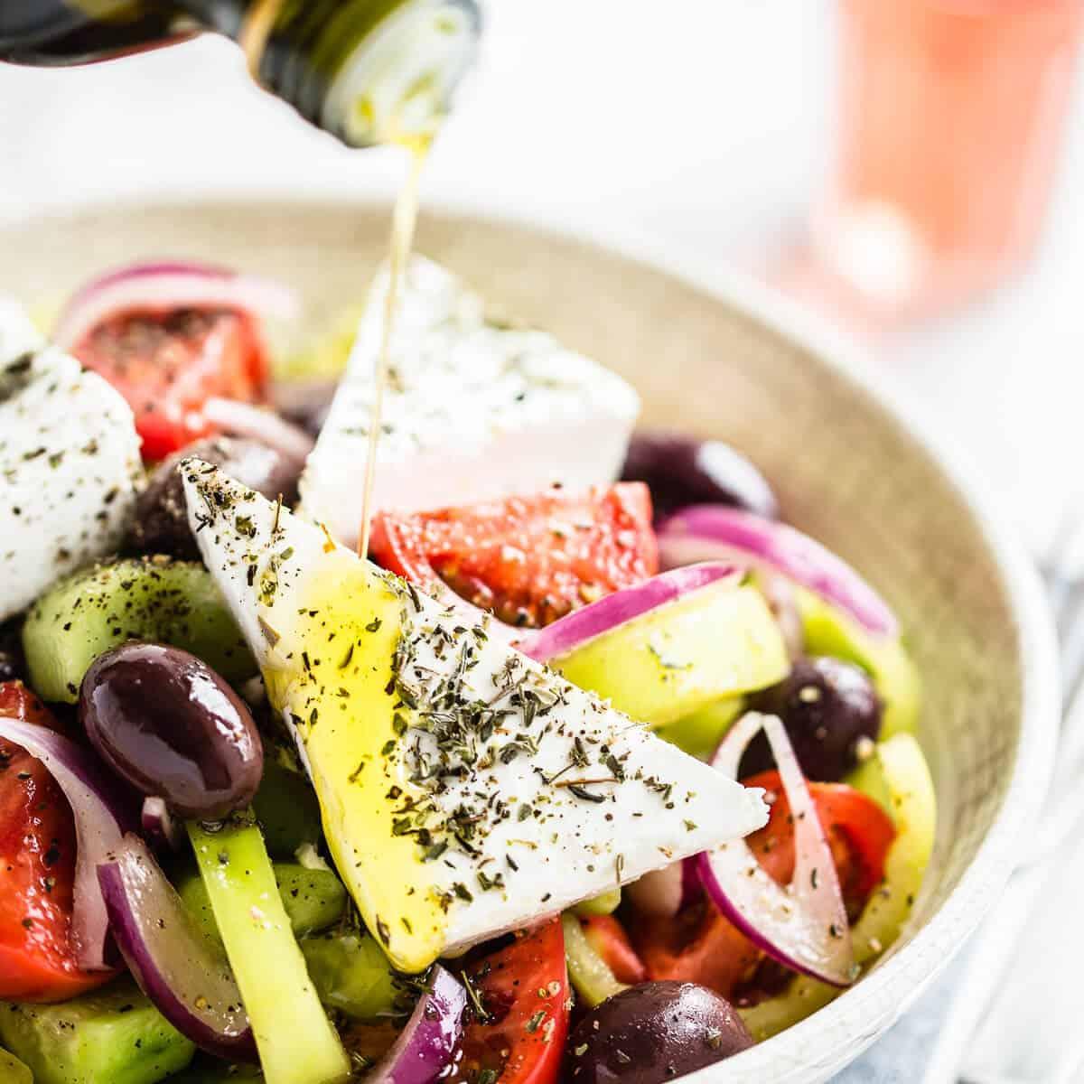 greek salad in white bowl