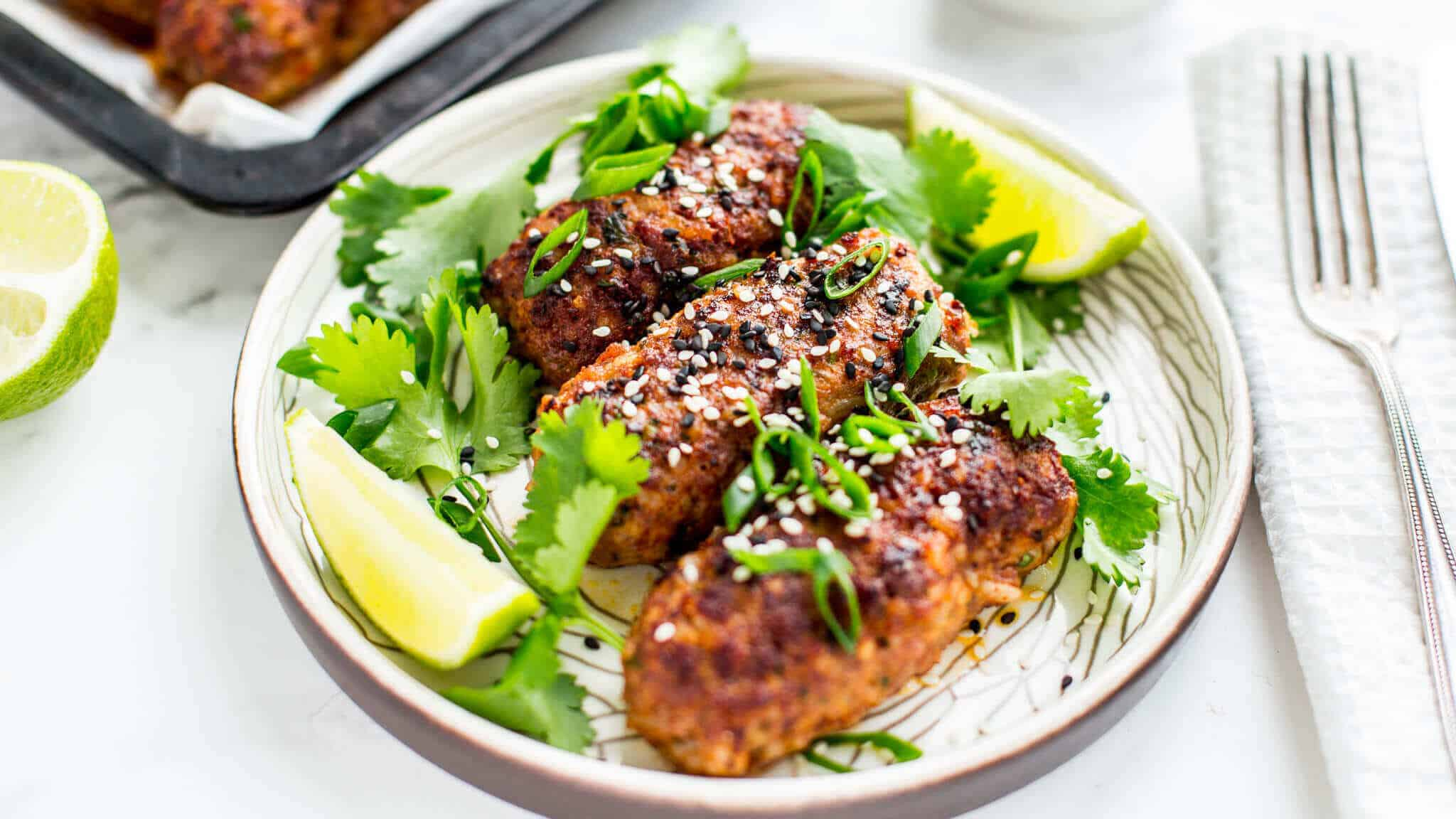 Thai spiced beef koftas with sesame, spring onion, soy and lime