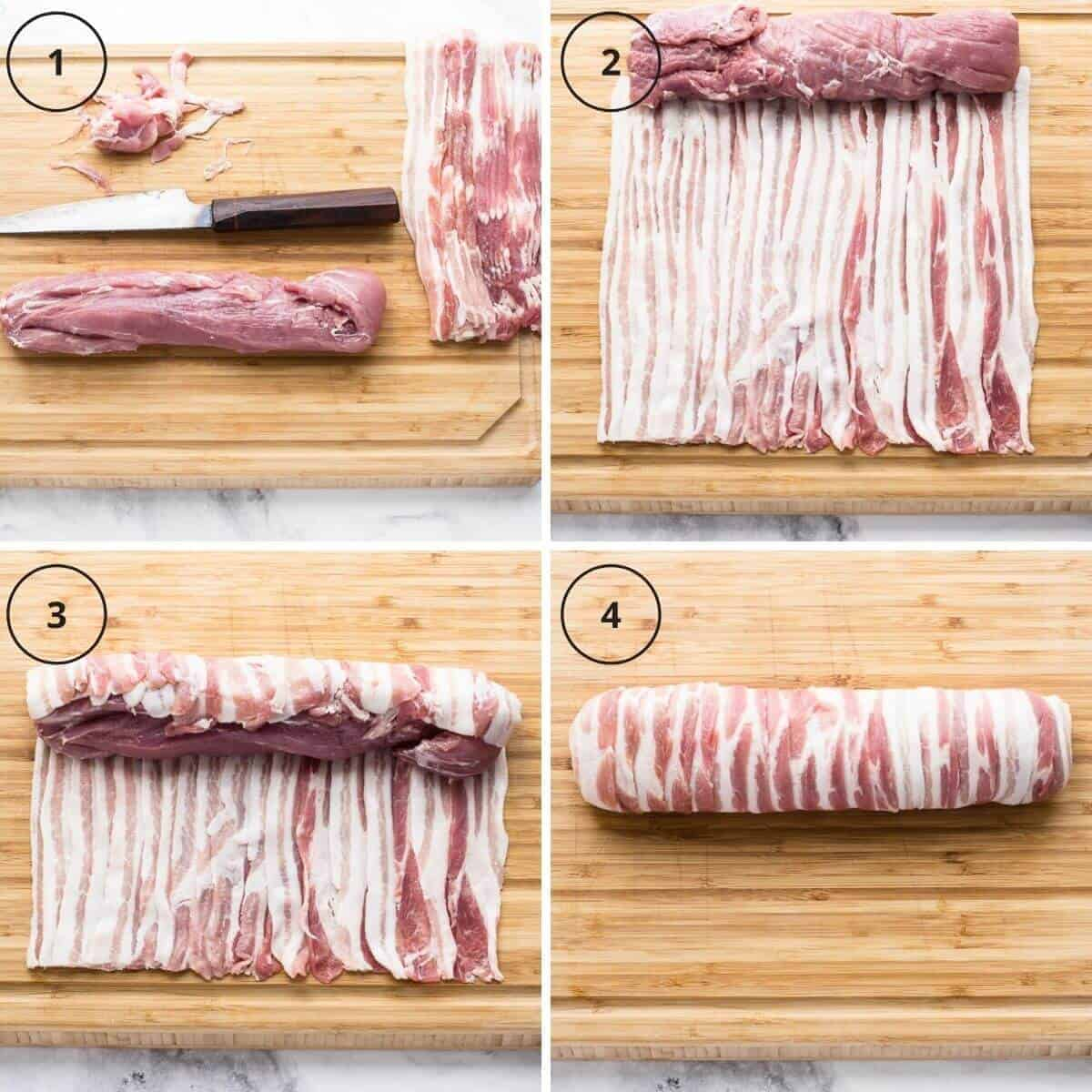 How to wrap pork fillet in bacon
