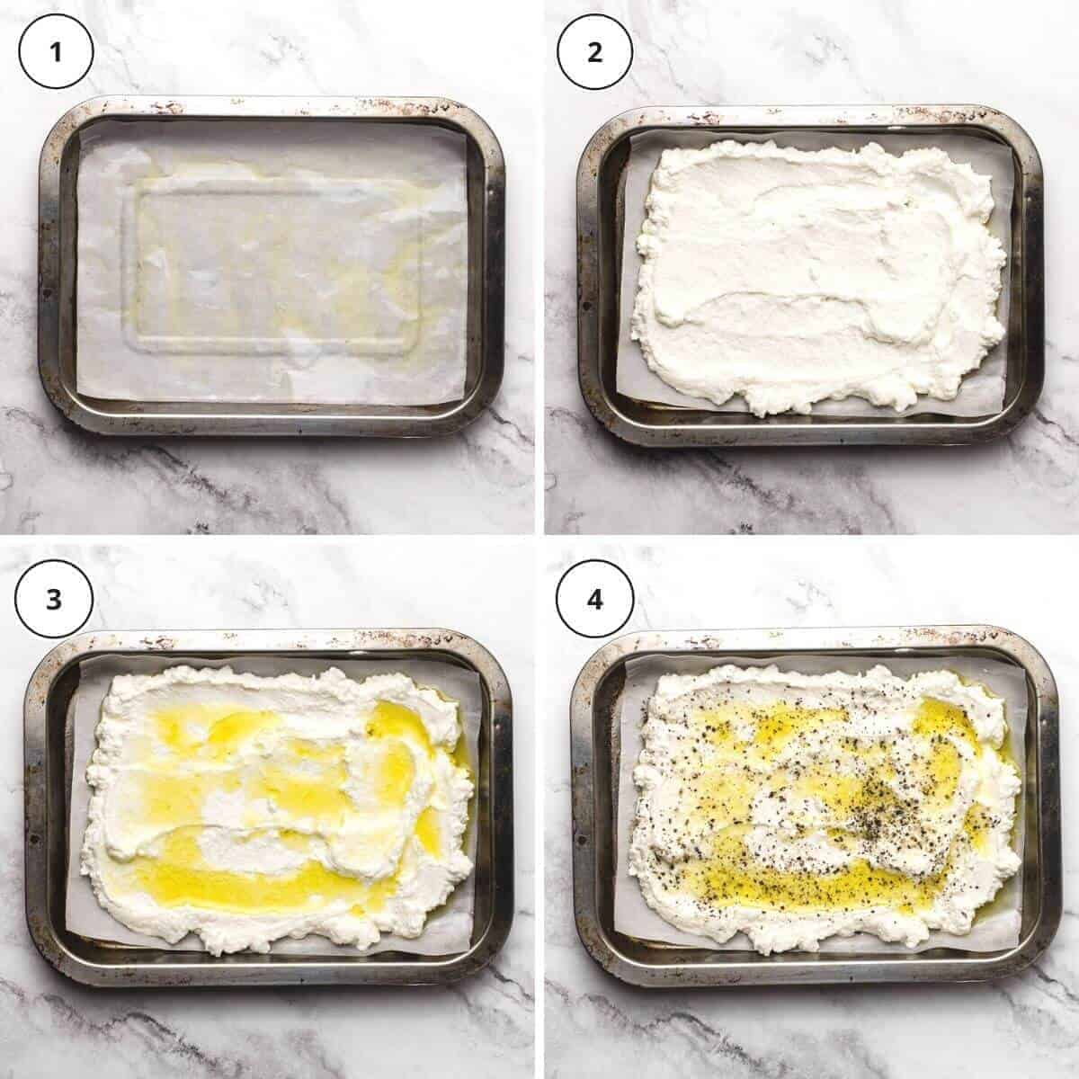 picture steps of written instructions how to bake ricotta
