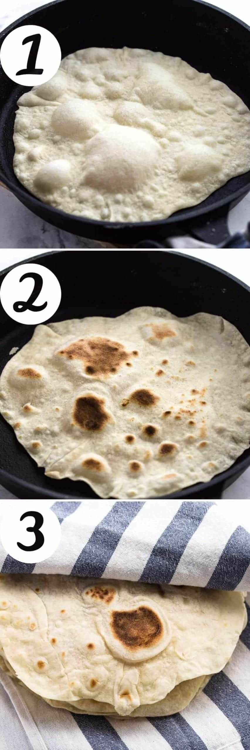cooking flour tortillas in a skillet and keeping warm under kitchen towel