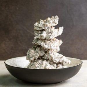 stack of barley koji in raku ceramic bowl