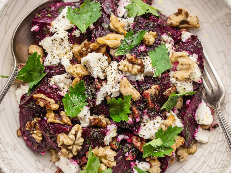 beetroot and feta salad in white bowl