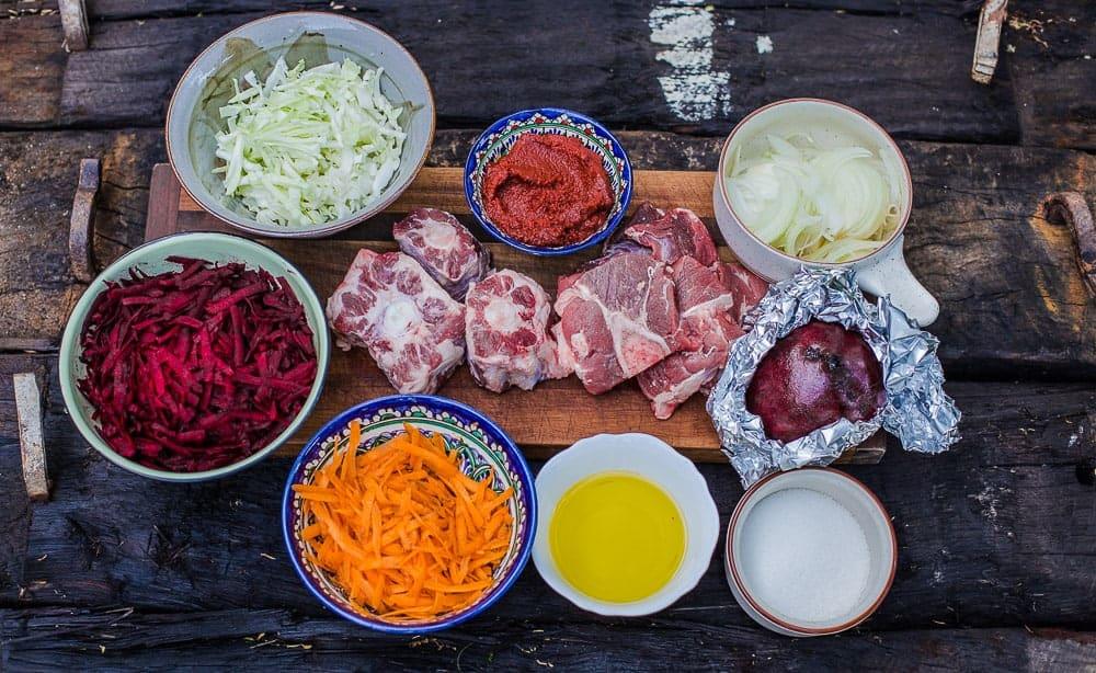 ingredients needed to cook borscht