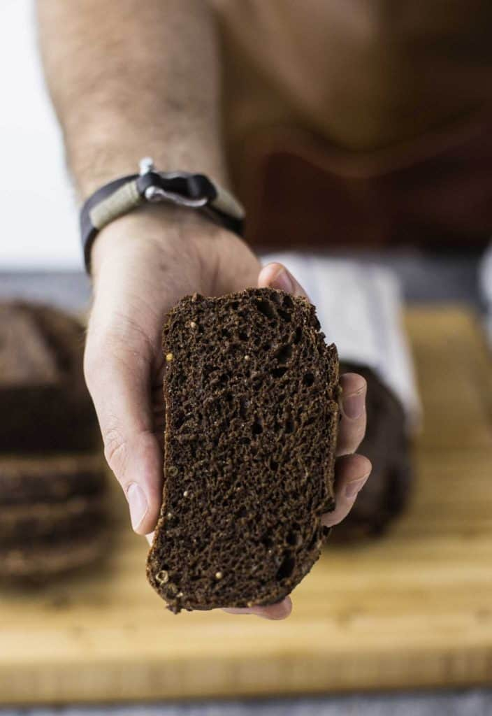 borodinky dark rye bread crumb
