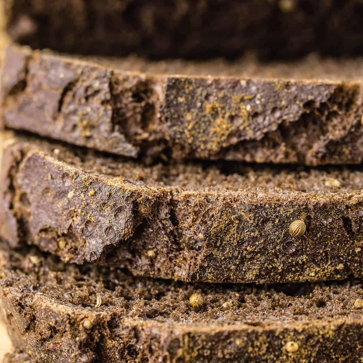 sliced dark rye bread