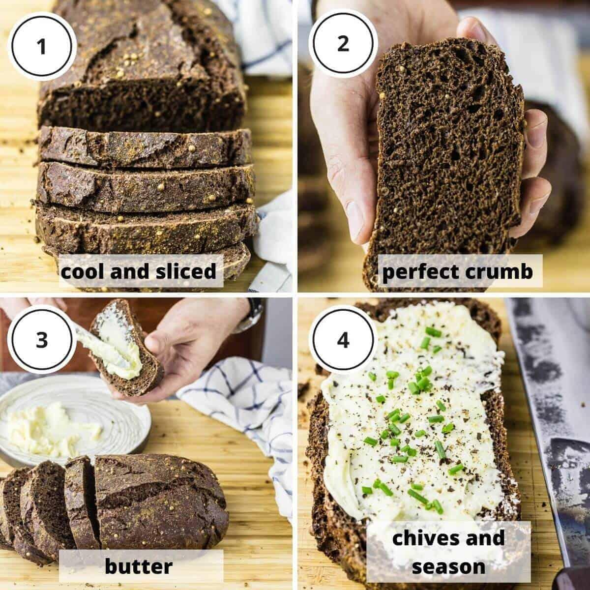 picture steps of serving dark rye bread