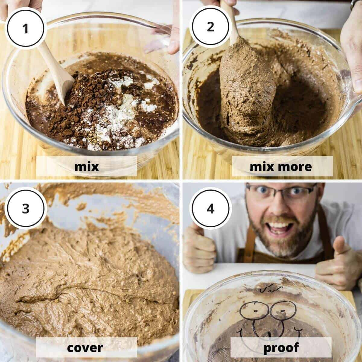 picture steps of making dark rye bread dough
