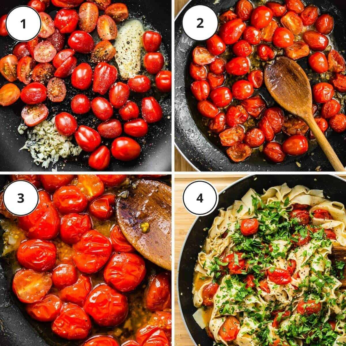 picture steps of written instructions how to ccok the tomatoes