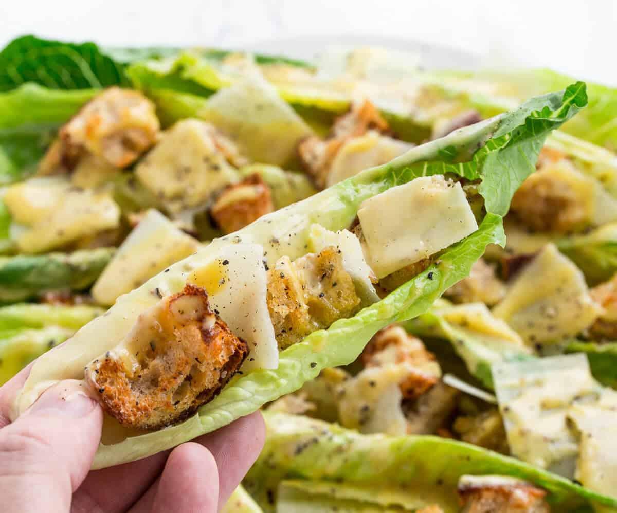 The perfect bite of caesar salad