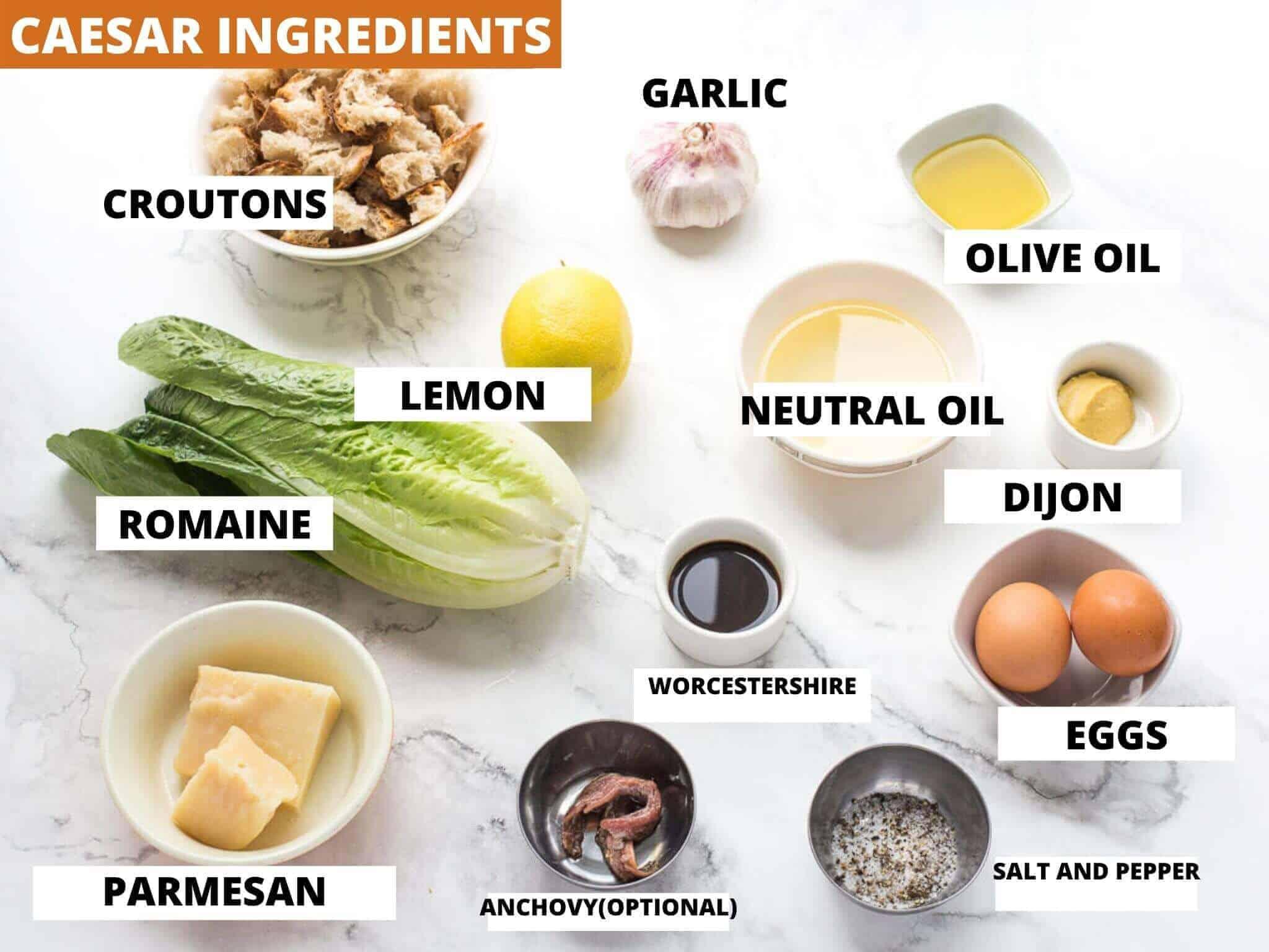 Ingredients needed to make caesar salad