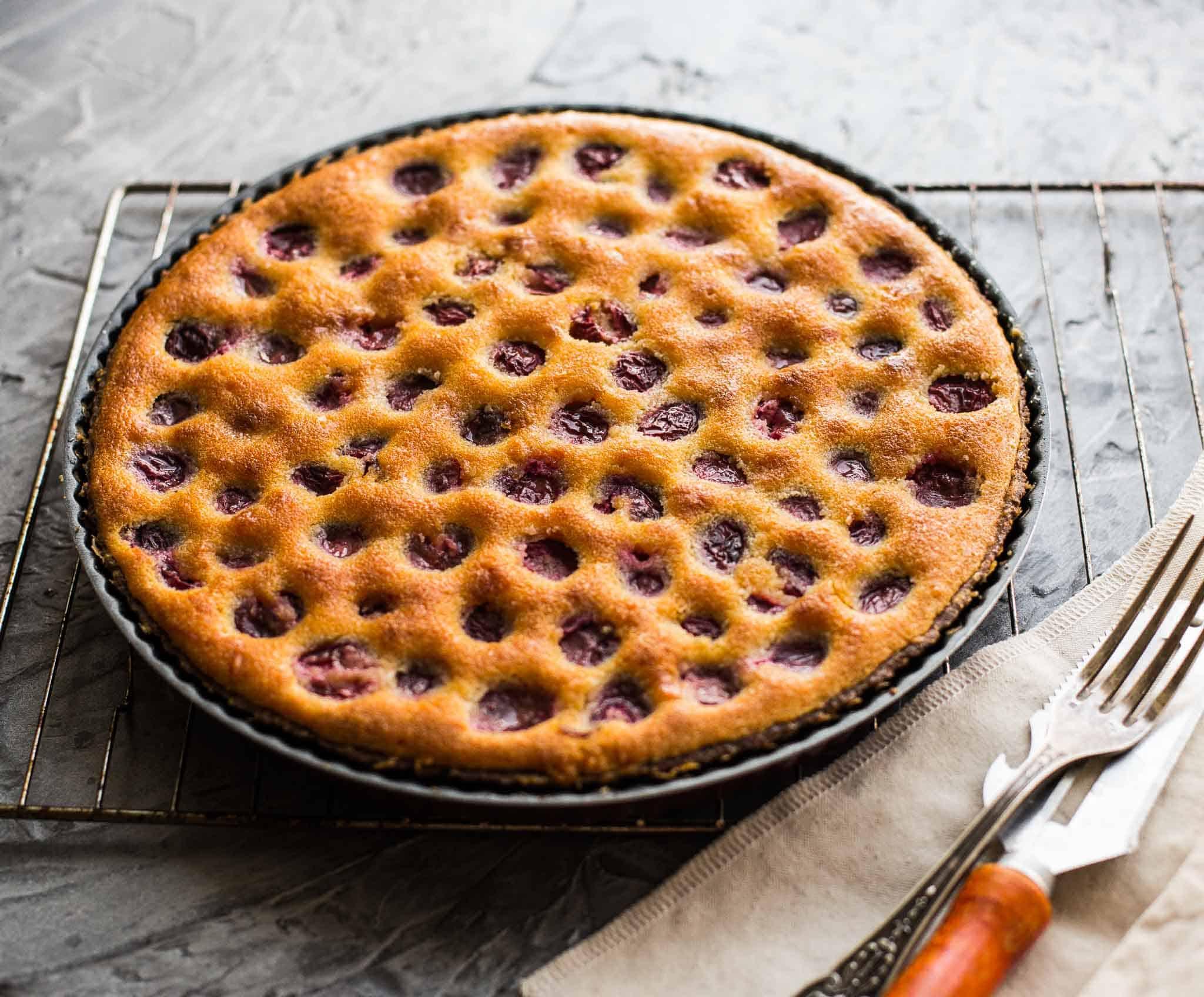 Freshly baked cherry and almonds tart