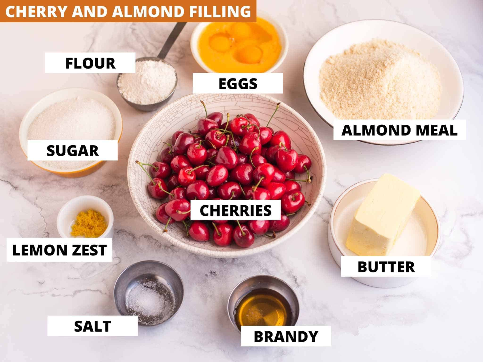 ingredients for cherry and almond pie filling