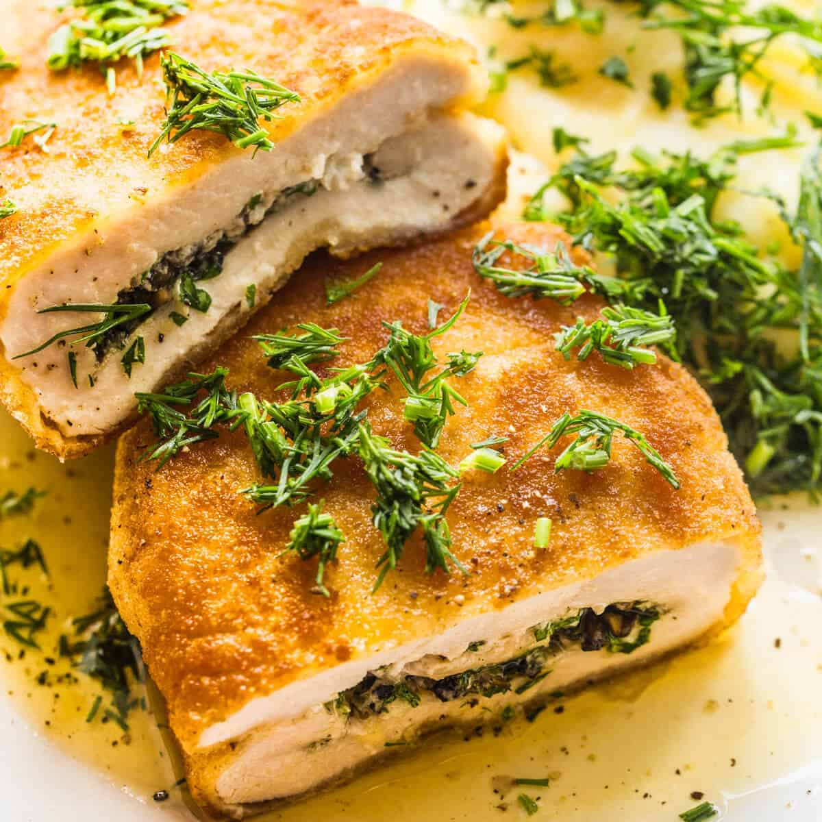 chicken kiev with mashed potatoes and dill
