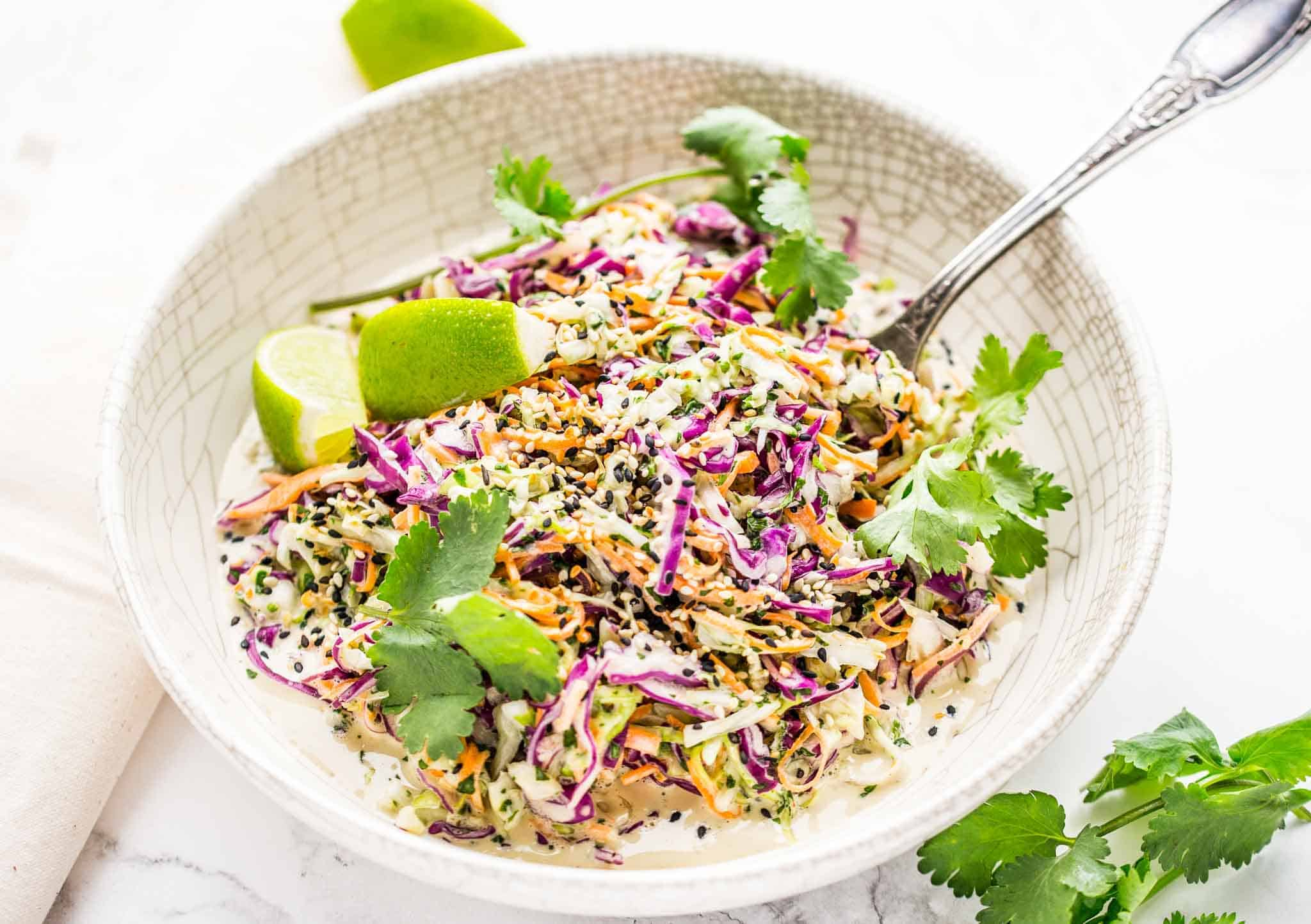 Homemade crunchy coleslaw with tahini dressing