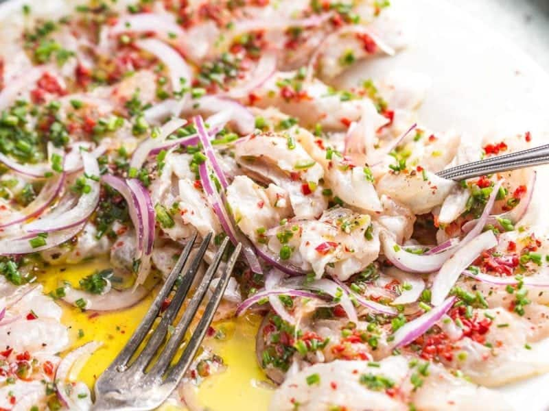 sea bass crudo - Italian style cured fresh fish better than ceviche or sashimi