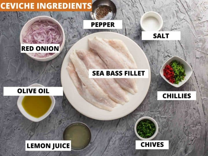 ingredients for sea bass crudo