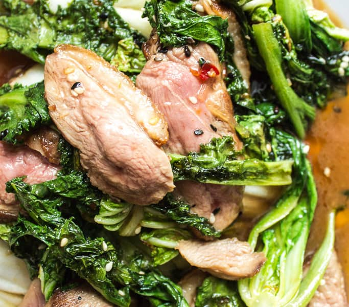 Duck and kale stir fry