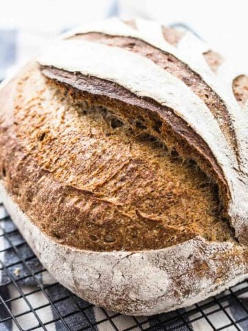 Healthy Slow Fermented Flaxseed Sourdough Bread