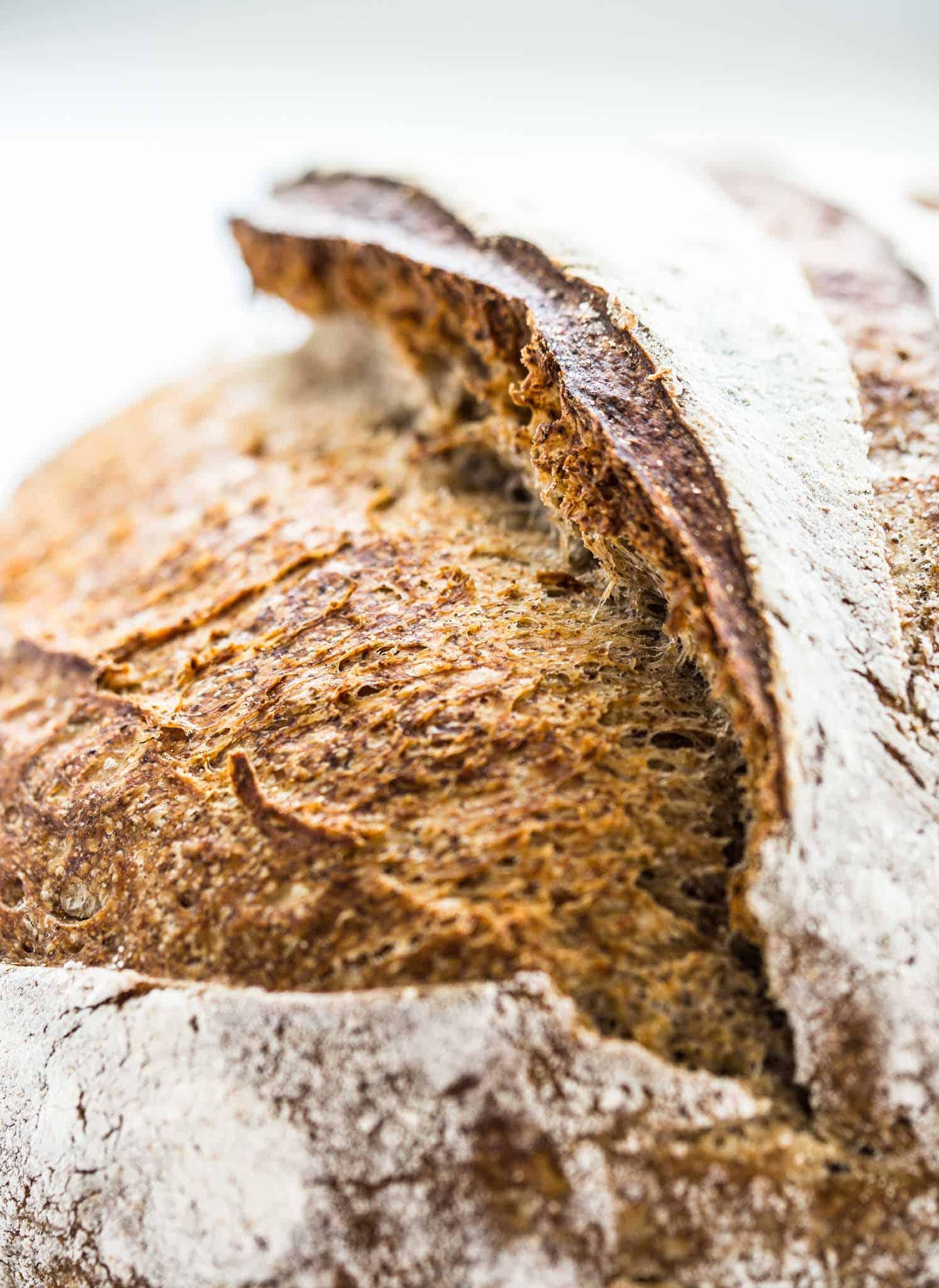 Healthy Slow Fermented Flaxseed Sourdough Bread