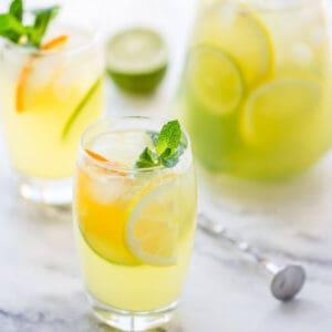 lemonade in glasses and large jug.