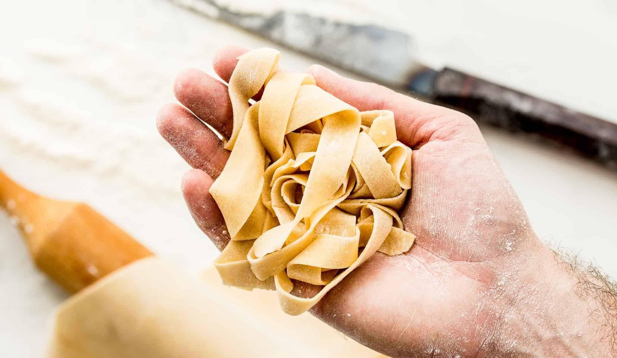 Easy 2 ingredient no-knead homemade pasta