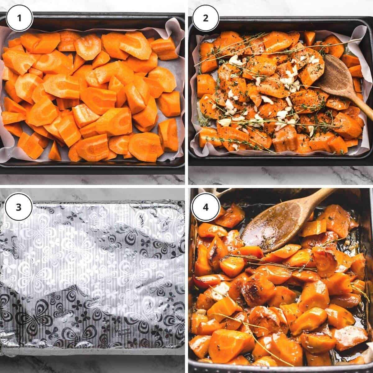 picture steps of written instructions how to roast carrots