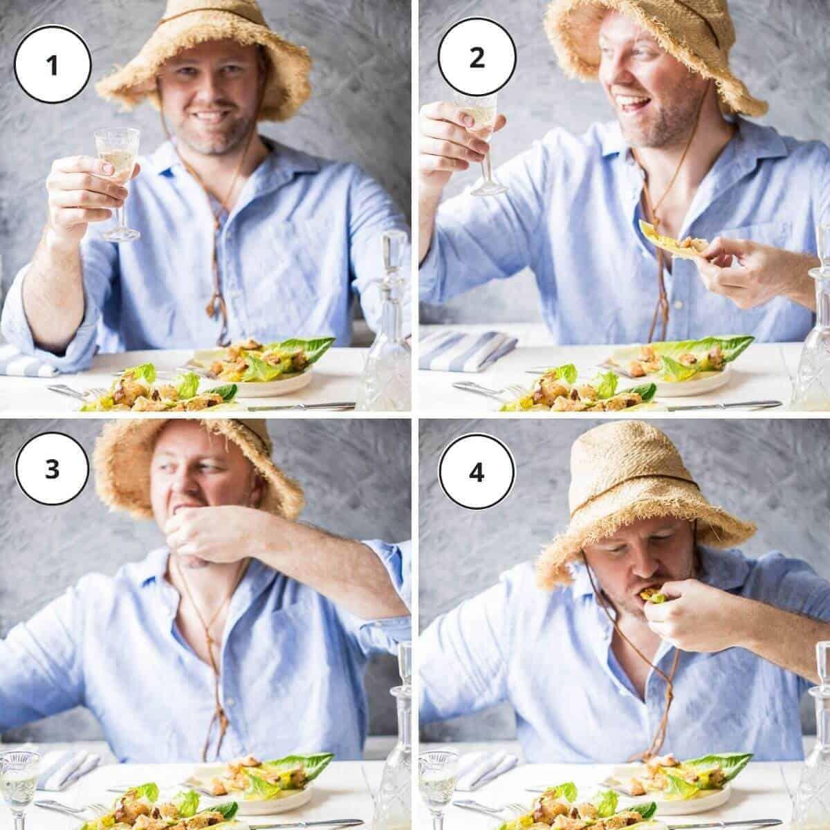 man with blue shirt eating salad