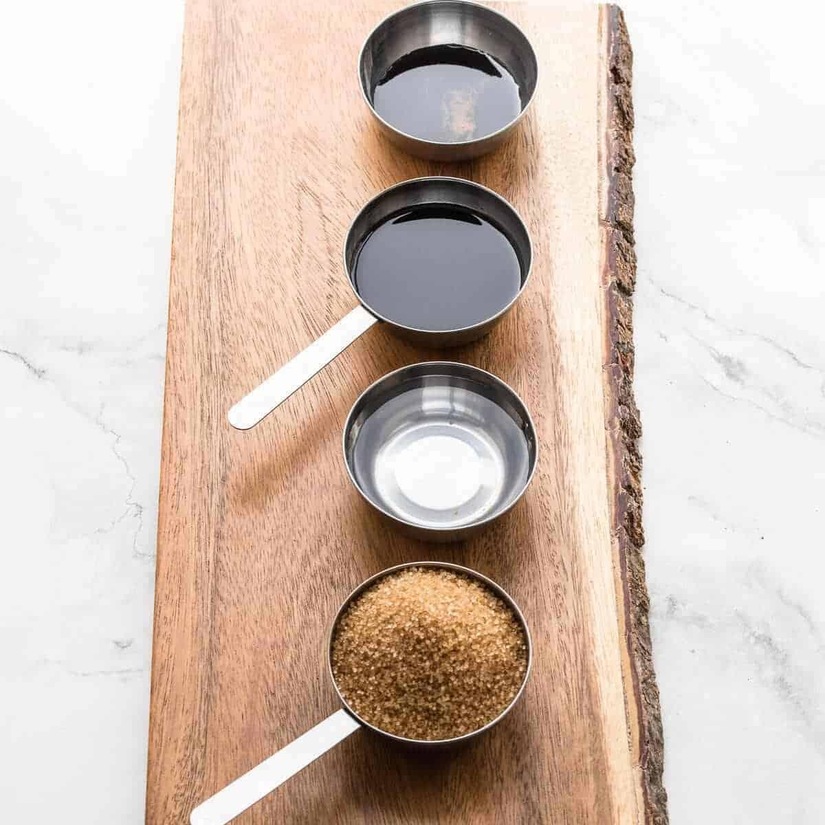 ingredients needed to make kecap manis(water,brown sugar,soy sauce,molasses)