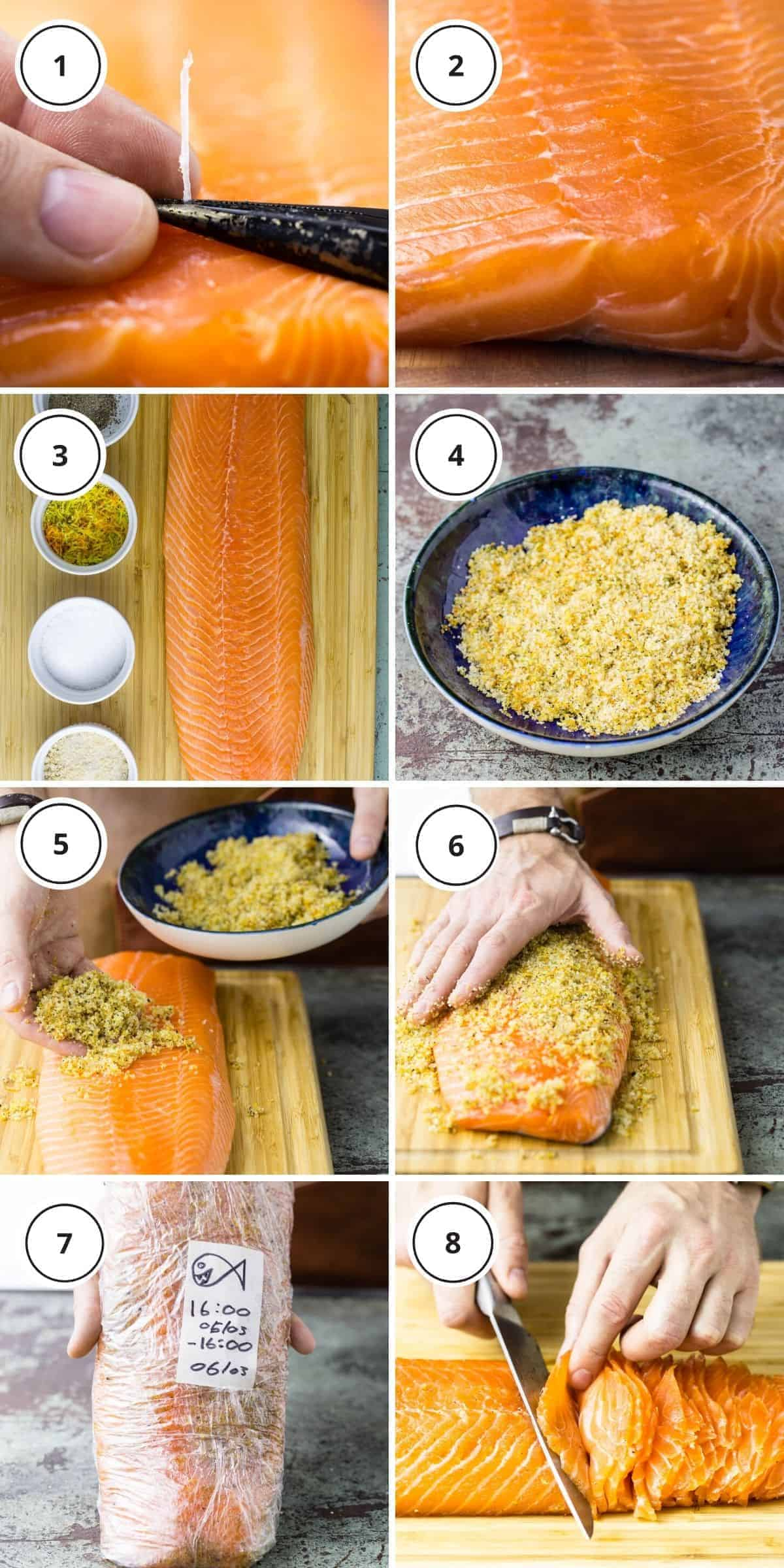picture steps of written instructions how to cure the salmon