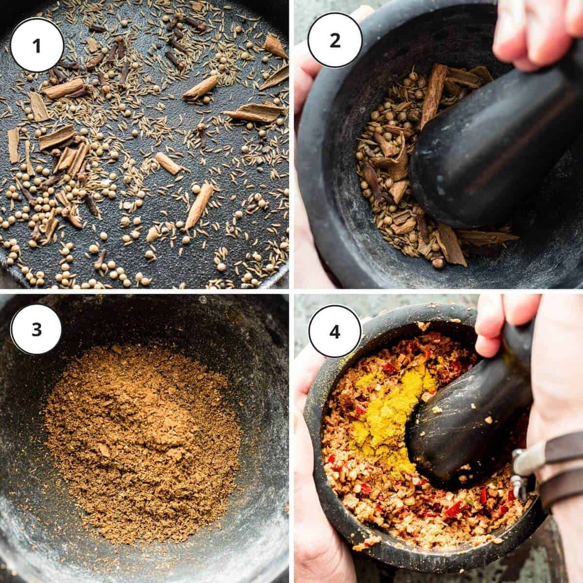 picture steps to make massaman curry paste.