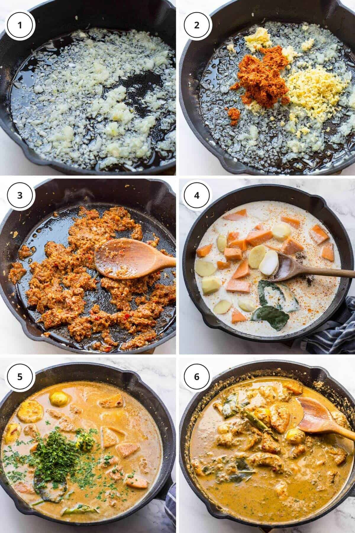 picture steps to make prawn massaman curry.