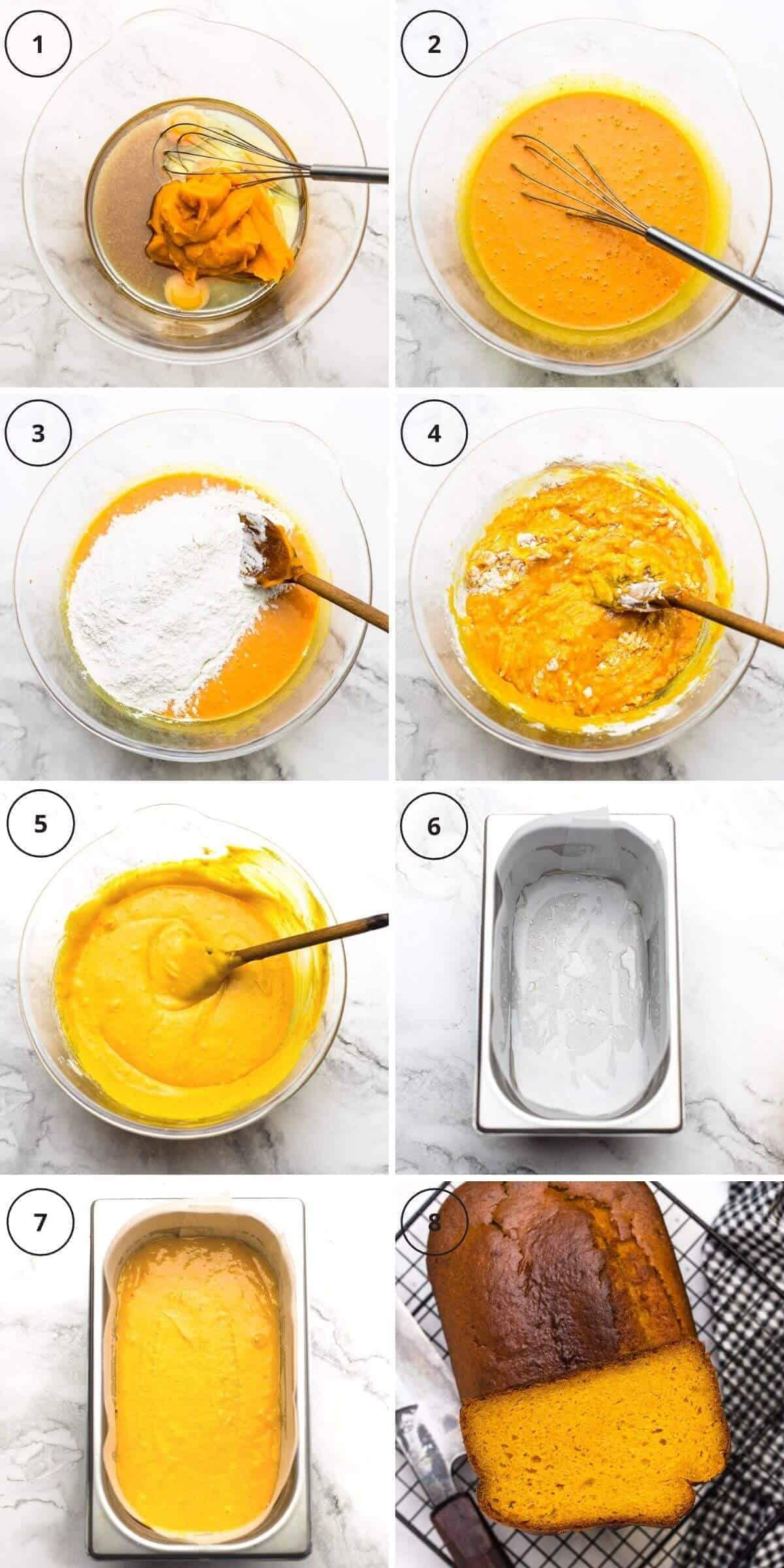 8 steps baking pumpkin bread