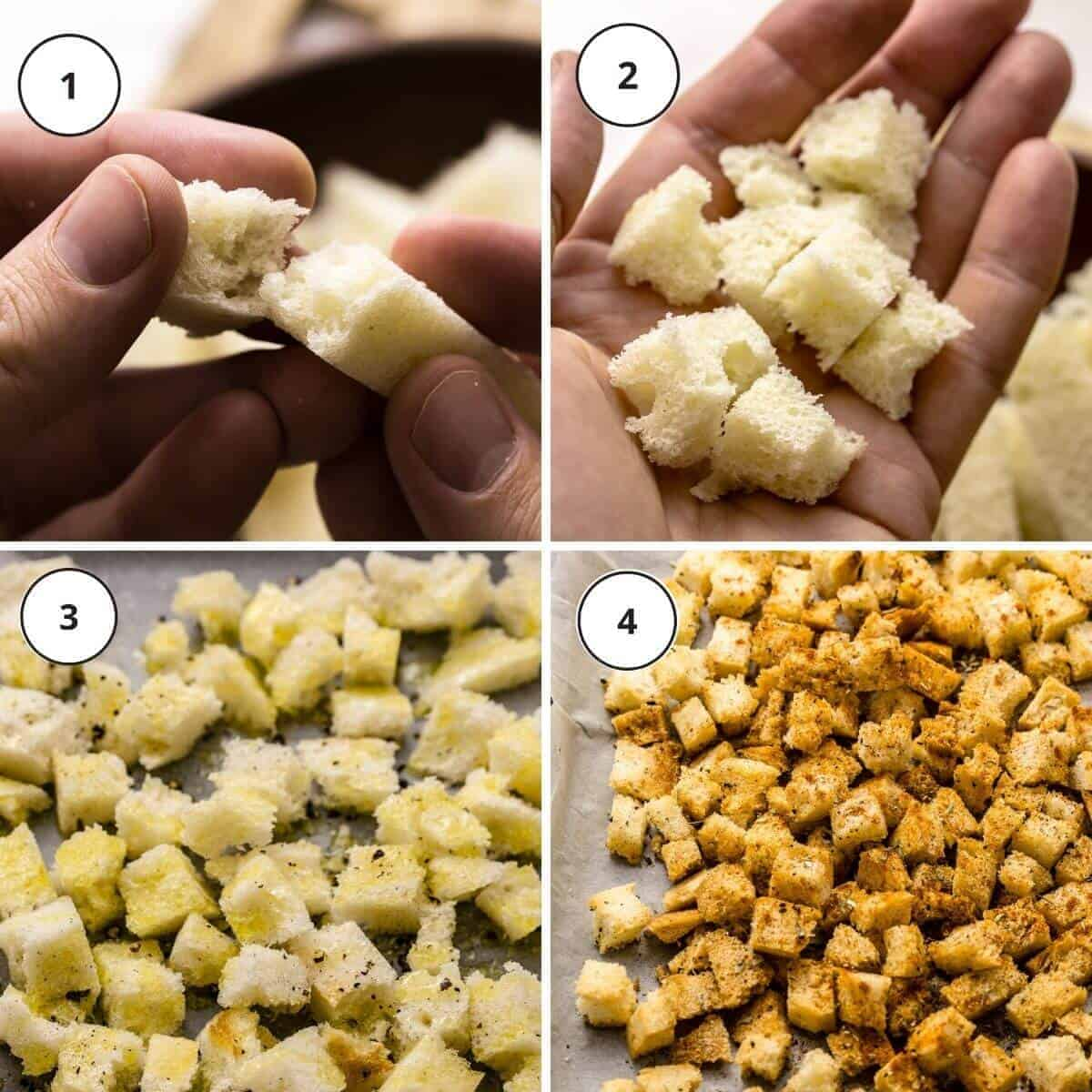 picture steps how to make croutons.