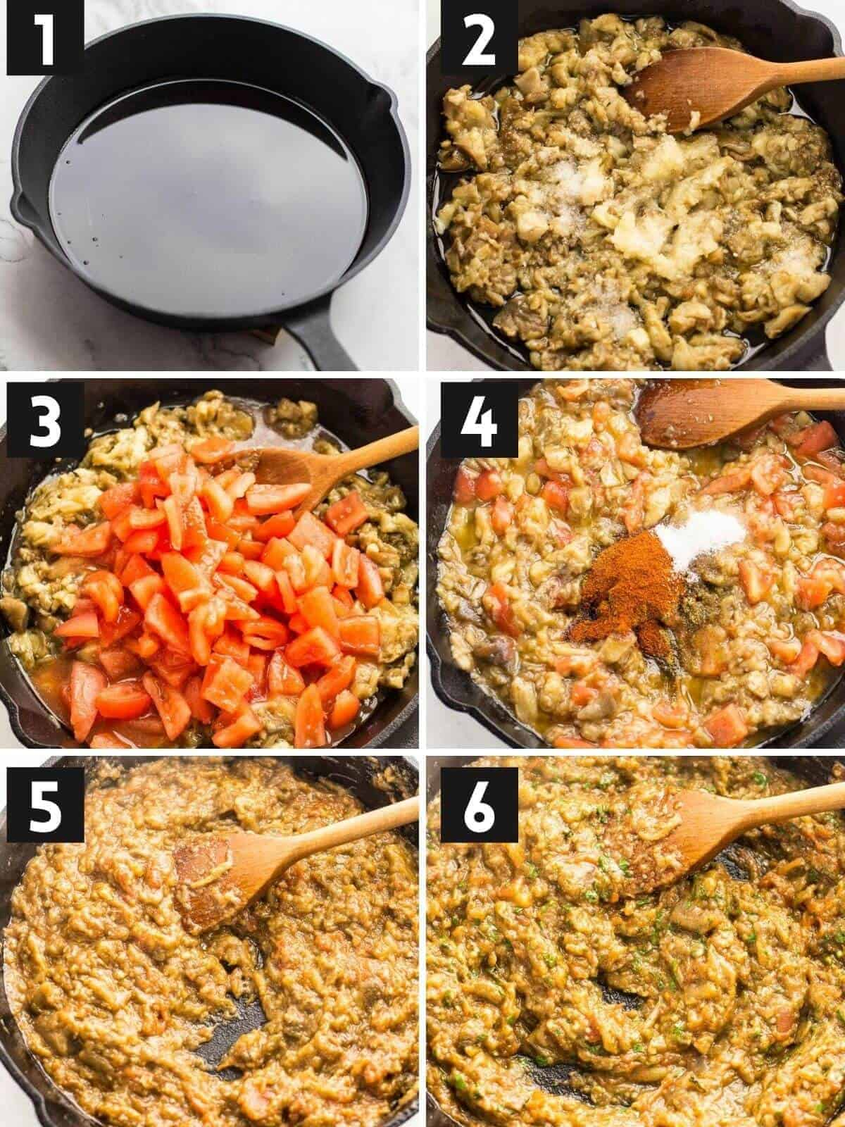 picture steps of cooking zaalouk.