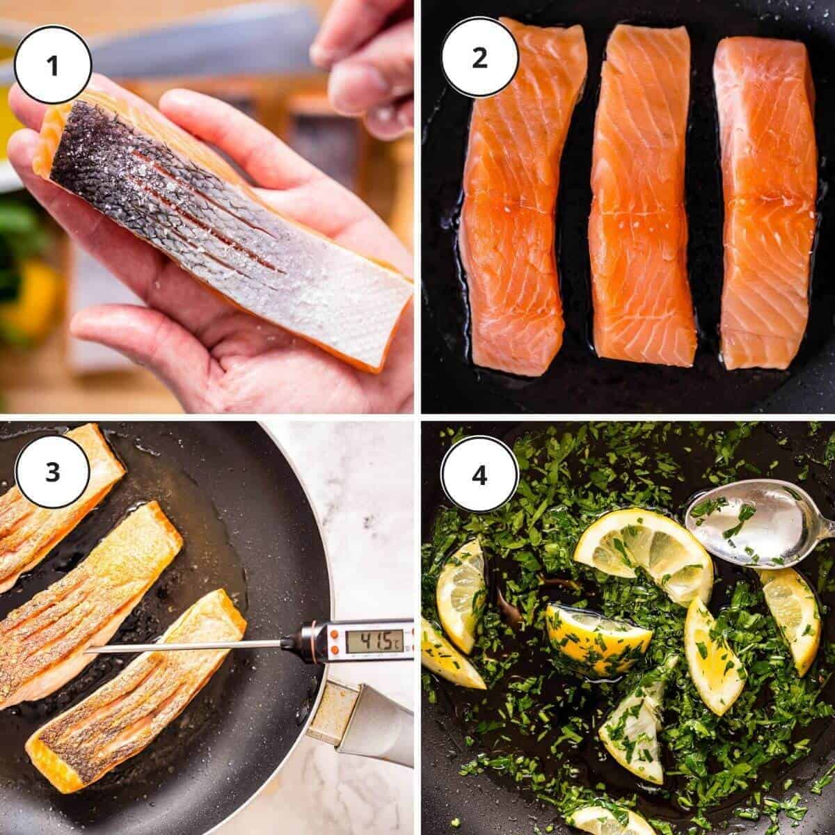 picture instructions how to pan fry salmon fillet.
