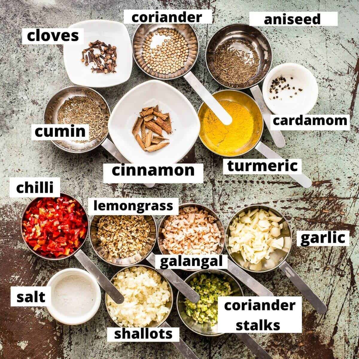 massaman curry paste ingredients on marble background.