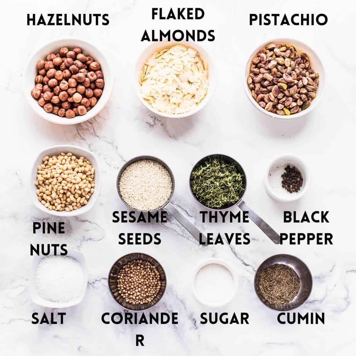 ingredients needed to make dukkah