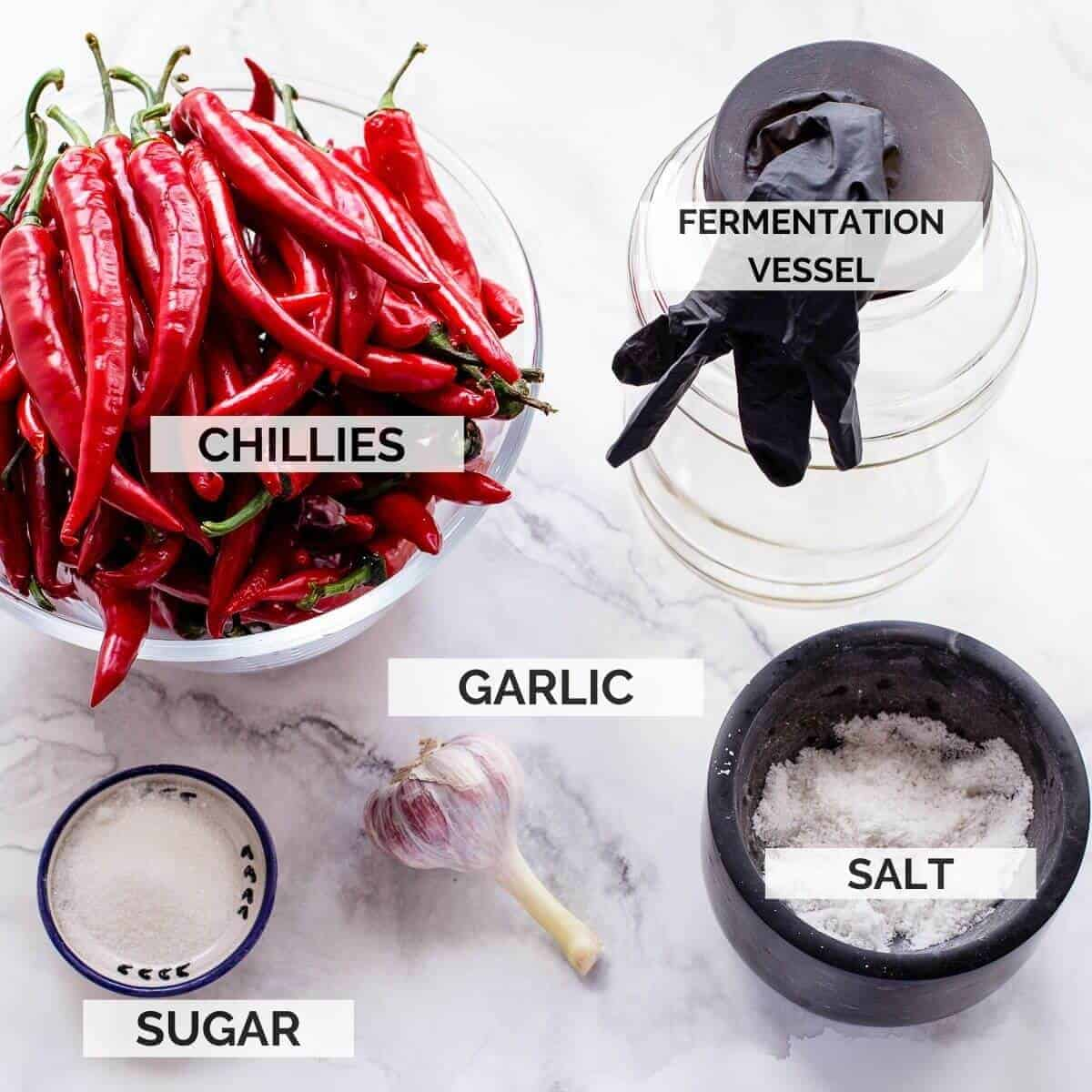 ingredients needed to make sriracha on marble background.
