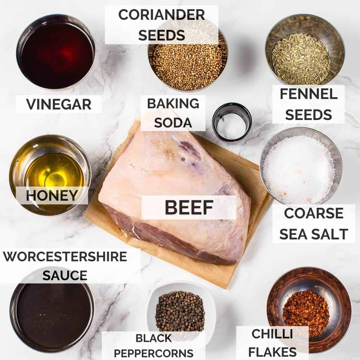 ingredients to make biltong on a marble background