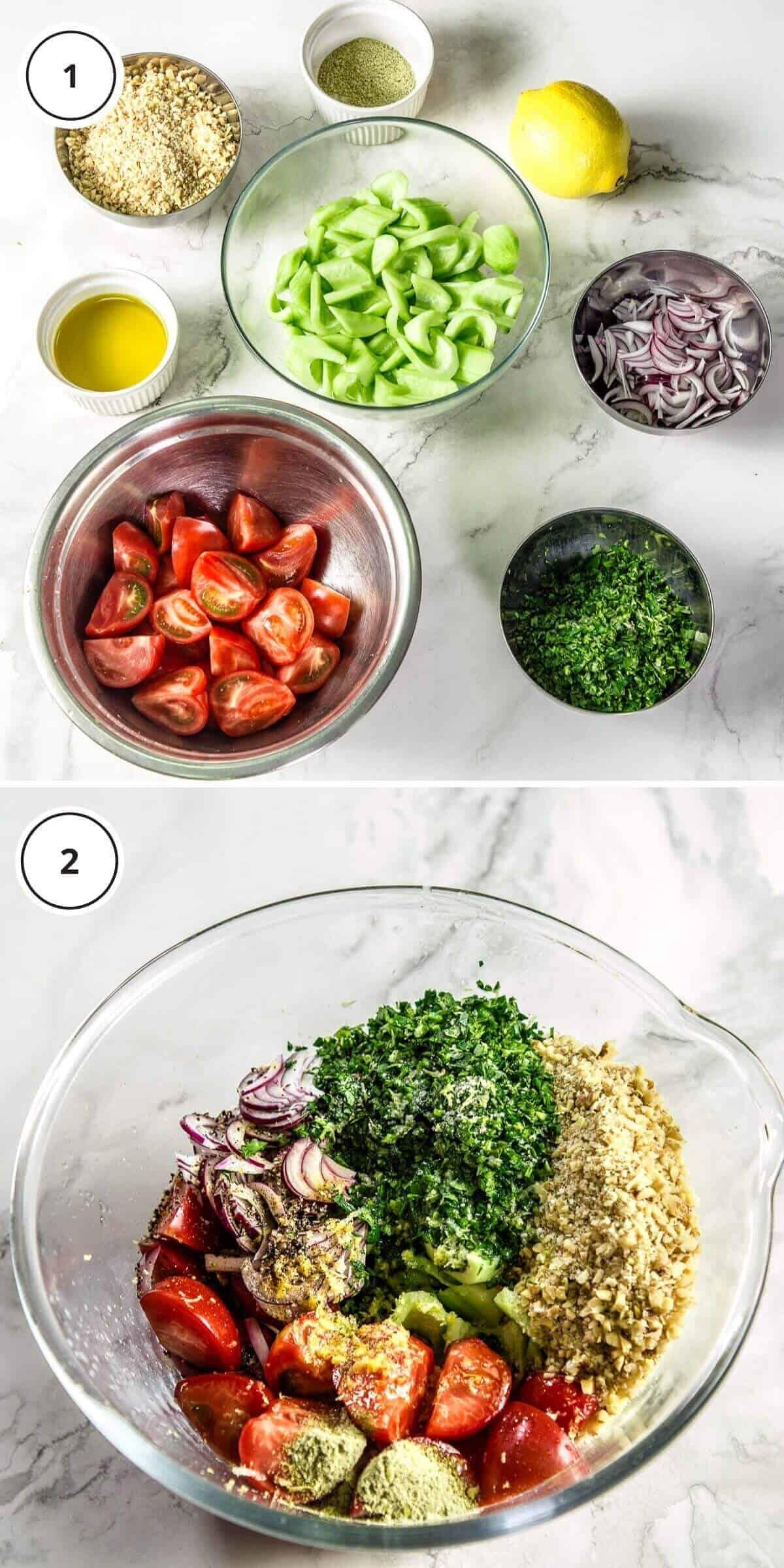 ingredients to make salad on marble background.