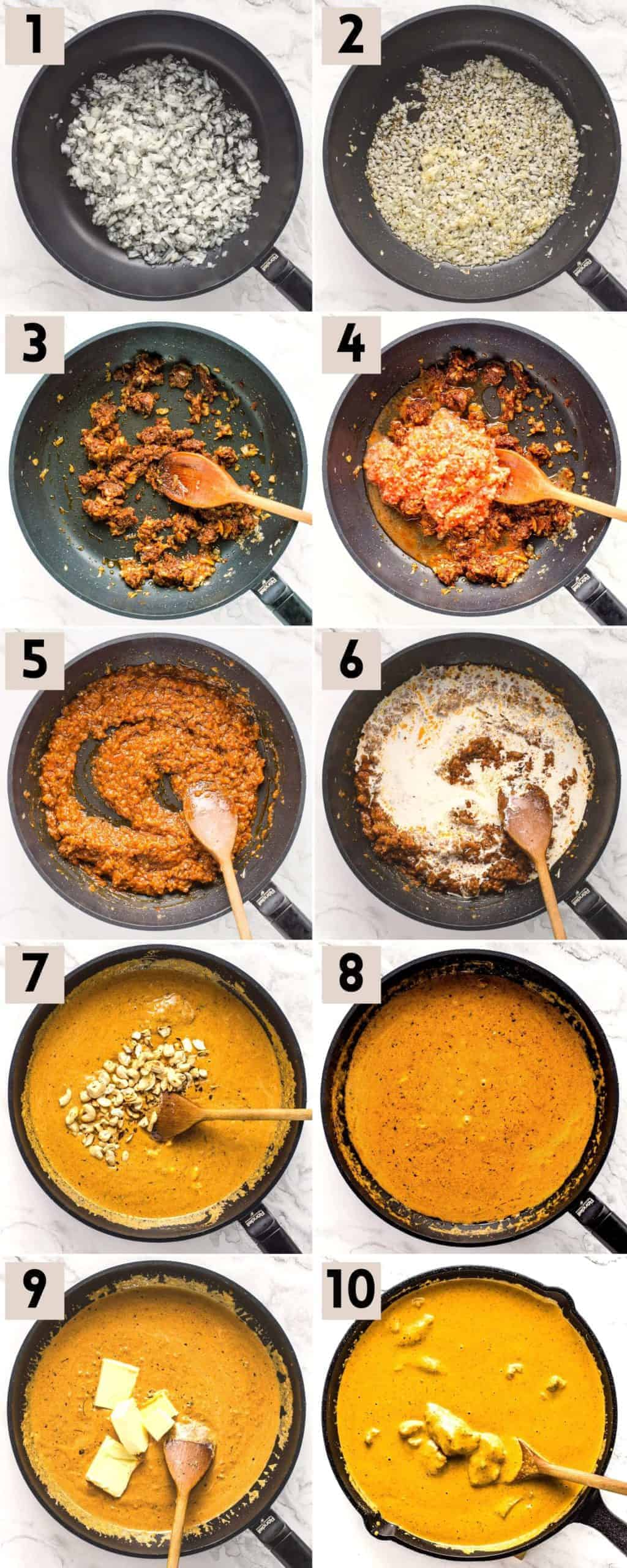 10 steps to cook butter chicken