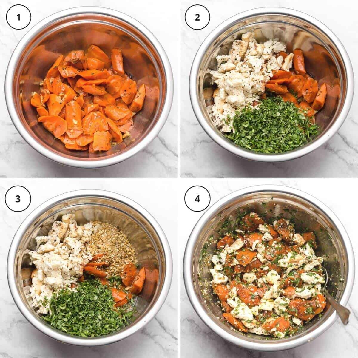picture steps of written instructions how to make roasted carrot salad