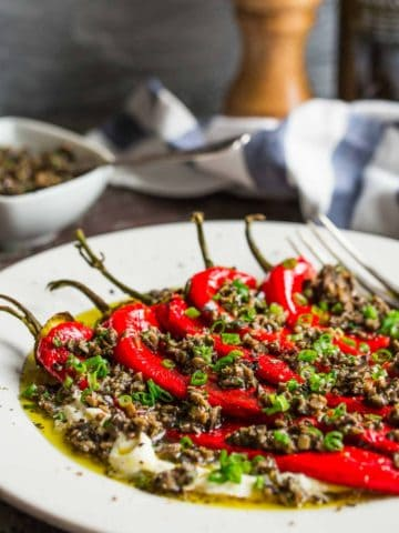 roasted red peppers with mascarpone and olive tapenade