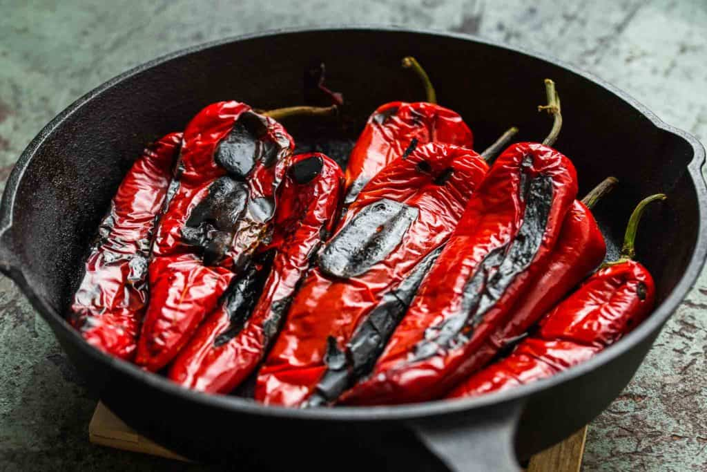roasted red peppers in skillet