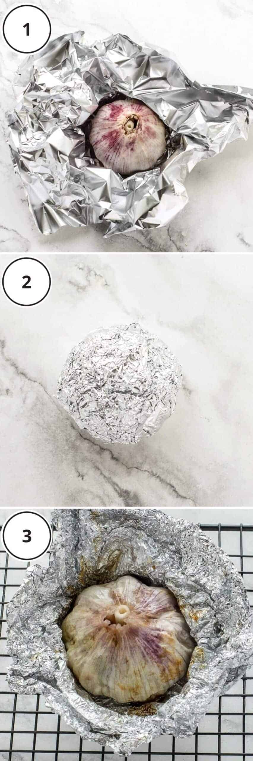 roasted garlic and tin foil on marble