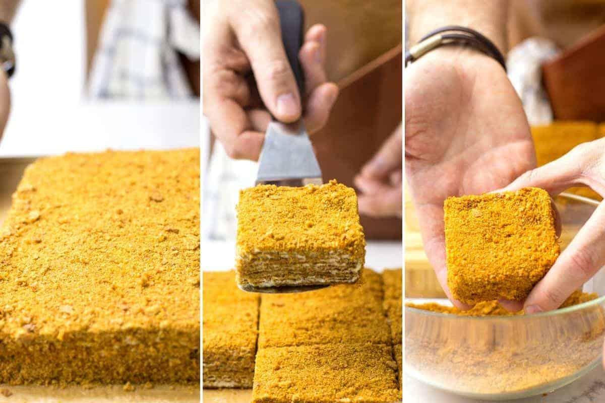 cutting honey cake into smaller cakes
