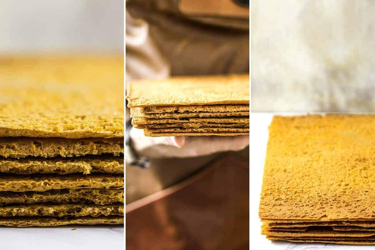 baked sheets of russian honey cake batter