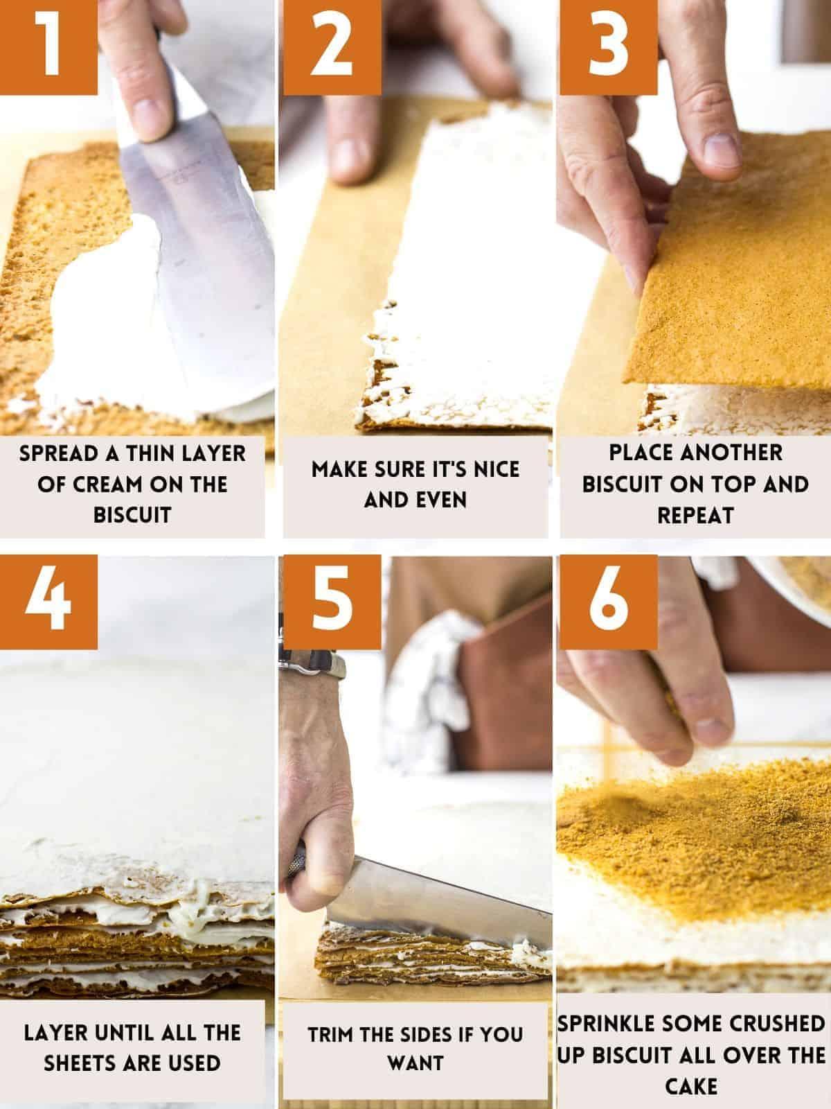 Layering Russian honey cake